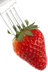 Ripe Red Strawberry On Fork