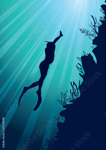 Freediver on the sea