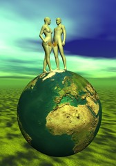 Adam and Eve upon the earth