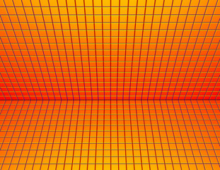 3d render glossy red orange yellow tiled wall floor pavement