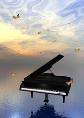 Piano and butterflies