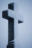 Cross atop headstone poster