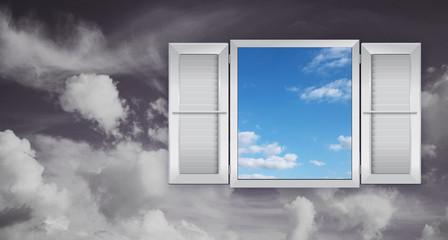 Concetto di ottimismo con finestra sul cielo