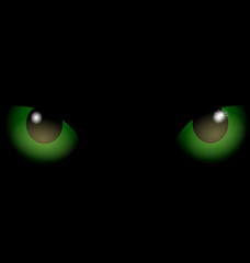 black background green eyes