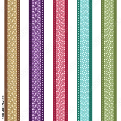 color lace strips on white background