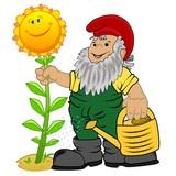 Gartenzwerg mit Gießkanne und Sonnenblume