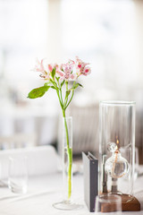 Lilly flower in a vase on a covered table