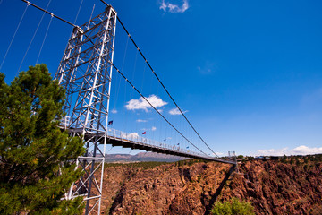 Royal gorge suspension bridge in sunny day
