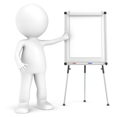 3D little human character with a blank Flip Chart, whiteboard.