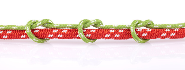 green knots on red rope