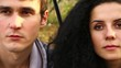 Beautiful young couple with backpacks looking (dolly shot)