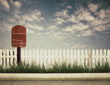 retro style picture of postbox poster