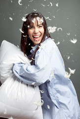 Pillow Fight with Happy Woman