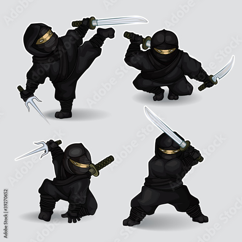 Set of ninja assassins
