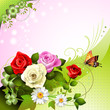Background with roses and butterflies