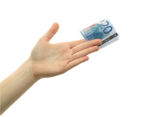 Woman's palm of hand holding 20 EURO banknote