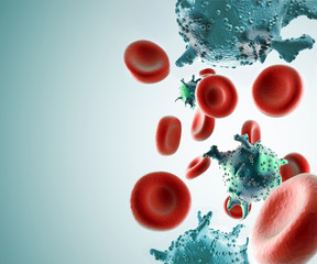 HIV cells in blood stream