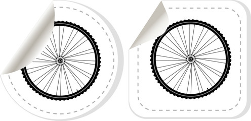 bike wheel with tire and spokes vector sticker set