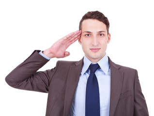 military businessman saluting