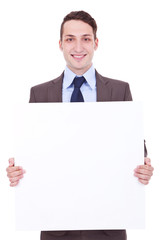 business man showing blank signboard