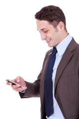 happy business man reading an SMS