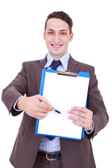 business man showing blank clipboard