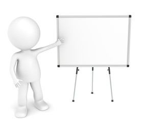 3D little human character with a blank whiteboard.