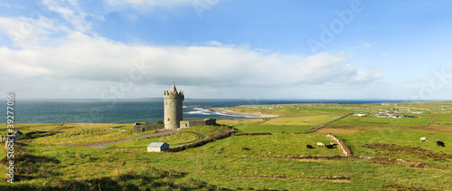 Panoramic view of Doonagore castle in Ireland.