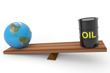 Oil barrel and earth globe on a scales. Computer generated image