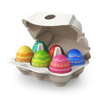 Colorful painted easter eggs in a box