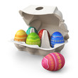 Colorful painted easter eggs in a box with one egg in the front