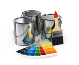 Fototapety Paint cans with brush and Pantone color guide