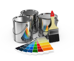 Paint cans with brush and Pantone color guide