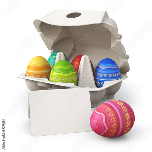 Colorful painted easter eggs in a box with greeting card
