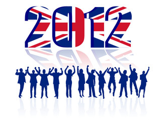 Happy People with 2012 UK Flag . vector file