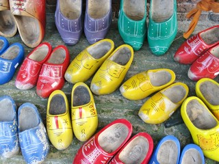 Colorful painted wooden shoes
