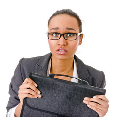Terrified young business woman on white