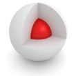 Cross section of white sphere with red core inside