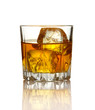 Glass of whiskey and ice isolated on white