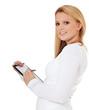 Attraktive junge Frau erfasst eine Umfrage