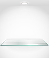 Square advertising glass board with a spot lignt. Place your tex