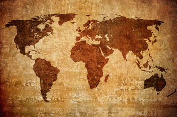 grunge map of the world. © javarman