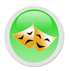 art icon on green button - Masks with the theatre concept