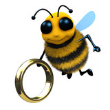 3d Bee with a gold ring