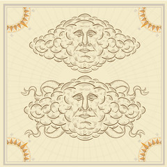 cloud face old engraving sketch