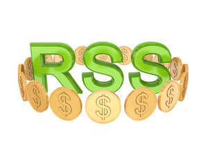 Word RSS and golden coins around.