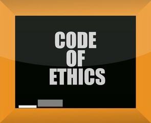 Code of ethics blackboard illustration design over white
