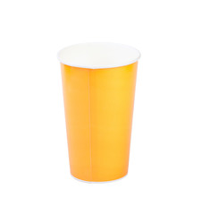 yellow paper cup isolatad on white