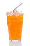 Glass of Orange Soda With Drinking Straw