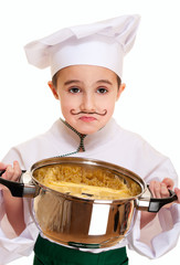 Little unhappy cook with pot of pasta